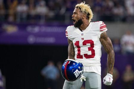 Oct 3, 2016; Minneapolis, MN, USA; New York Giants wide receiver Odell Beckham Jr. (13) argues a call during the second quarter against the Minnesota Vikings at U.S. Bank Stadium. Mandatory Credit: Brace Hemmelgarn-USA TODAY Sports