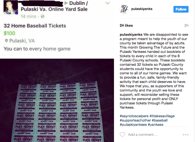 One fan is trying to ruin a fun gesture from the Pulaski Yankees. (@pulaskiyanks Screenshot on Instagram)