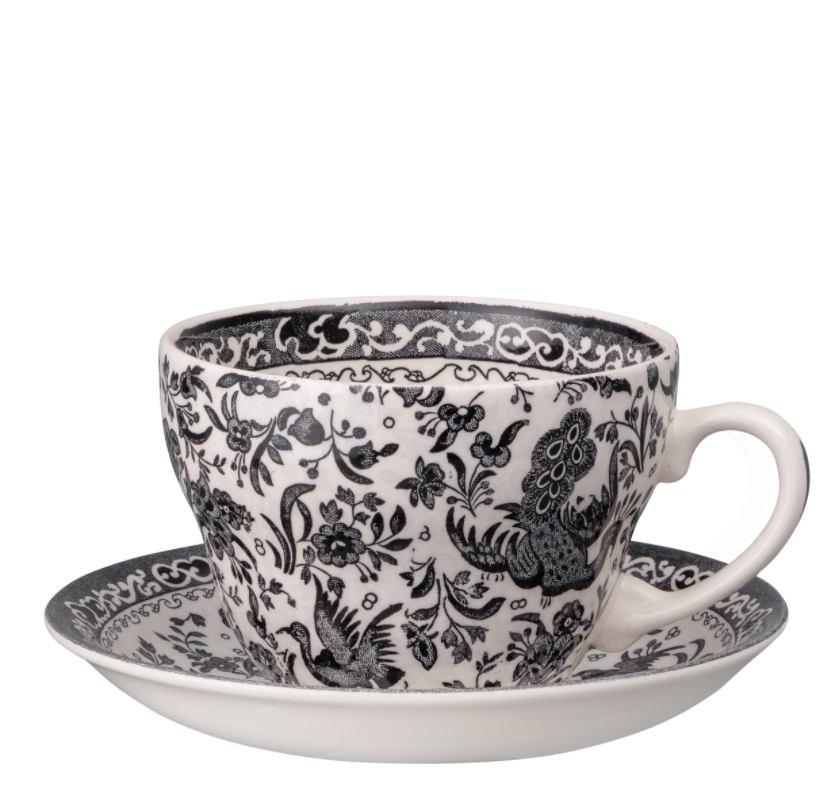 Black Regal Reacock Breakfast Cup and Saucer from Burleigh