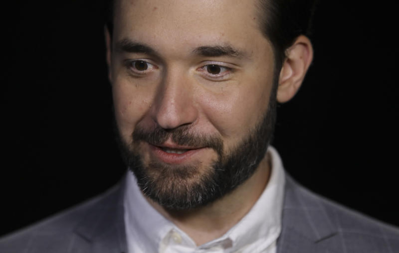 In this Tuesday Feb. 19, 2019, photo Alexis Ohanian, founder of the social media company Reddit, speaks during an interview in New York. Ohanian says he can't imagine how he and Serena Williams would have coped with a new baby if he had not been able to take leave from his job. Now the Reddit co-founder is rallying all men to join the battle cry for paid parental leave in the U.S., the only industrialized country that does not mandate it at the federal level. (AP Photo/Bebeto Matthews)