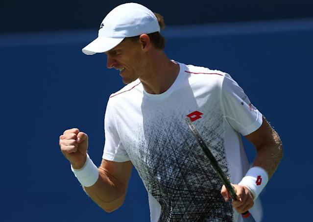 Moving on: Kevin Anderson celebrates against Grigor Dimitrov (AFP Photo/Vaughn Ridley)