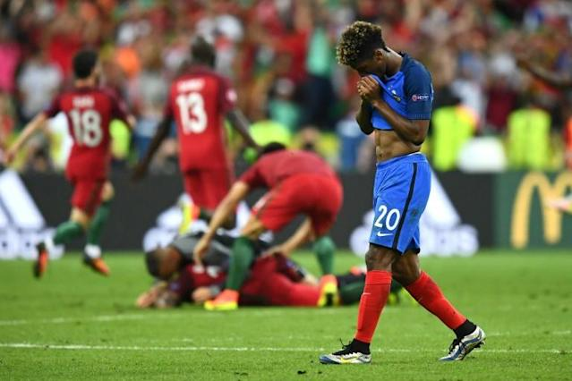 Bayern Munich winger Kingsley Coman, who made a lively cameo in the final, is seen here after the final whistle (AFP Photo/Franck Fife )