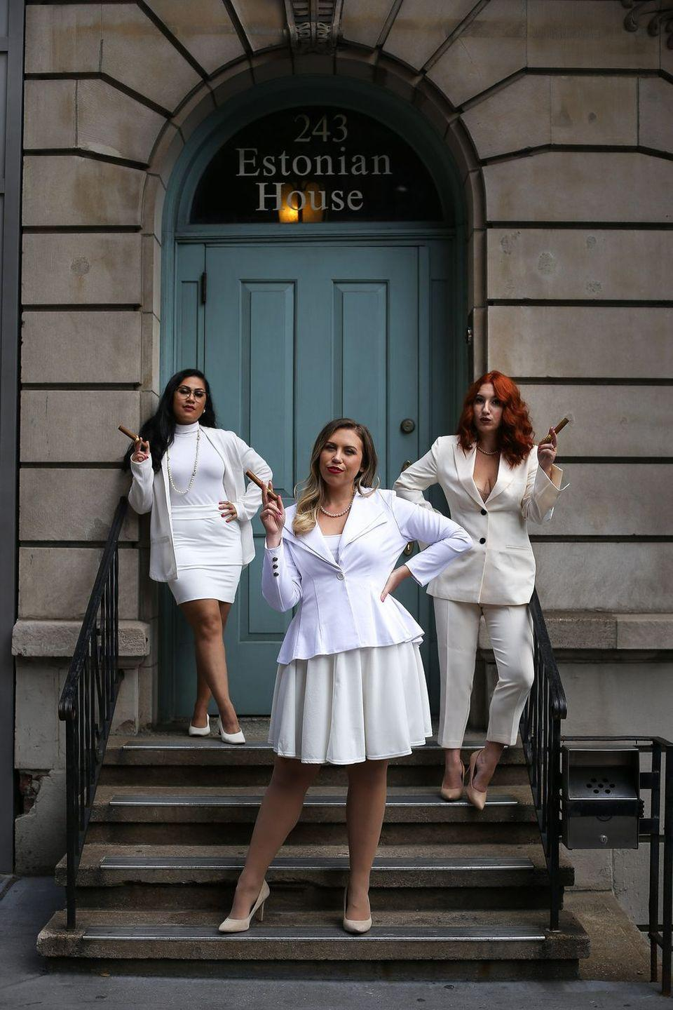 """<p>Step into the iconic, all-white outfits worn by the lead actresses in the 1996 film, <em>The First Wives Club. </em>There are few trios as iconic as Bette Midler, Goldie Hawn, and Diane Keaton, but you'll come pretty close.</p><p><strong>Get the tutorial at <a href=""""http://livingaftermidnite.com/2019/10/group-halloween-costumes-that-will-win-you-best-dressed.html"""" rel=""""nofollow noopener"""" target=""""_blank"""" data-ylk=""""slk:Living After Midnite"""" class=""""link rapid-noclick-resp"""">Living After Midnite</a>.</strong></p><p><strong><a class=""""link rapid-noclick-resp"""" href=""""https://go.redirectingat.com?id=74968X1596630&url=https%3A%2F%2Fwww.walmart.com%2Fsearch%2F%3Fquery%3Dwhite%2Bblazers&sref=https%3A%2F%2Fwww.thepioneerwoman.com%2Fhome-lifestyle%2Fcrafts-diy%2Fg37066817%2Fhalloween-costumes-for-3-people%2F"""" rel=""""nofollow noopener"""" target=""""_blank"""" data-ylk=""""slk:SHOP WHITE BLAZERS"""">SHOP WHITE BLAZERS</a><br></strong></p>"""