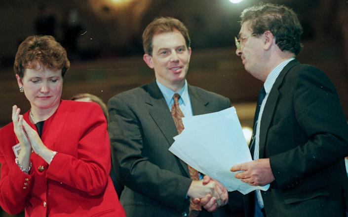 Judith Church, Tony Blair and John Hume at the Labour Party Conference in 1994
