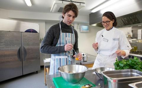 Making the stuffing for the turkey at Leiths cookery school - Credit: Jeff Gilbert