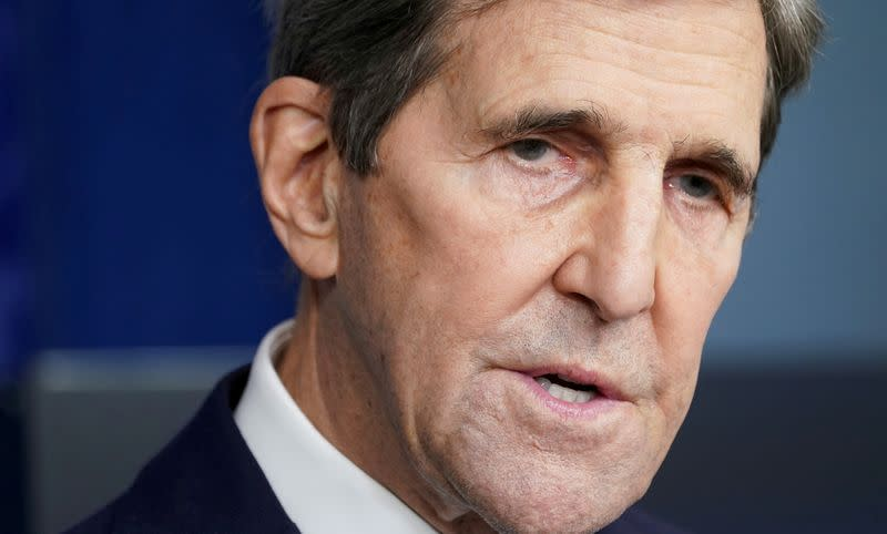 FILE PHOTO: Kerry speaks about the climate at the White House in Washington