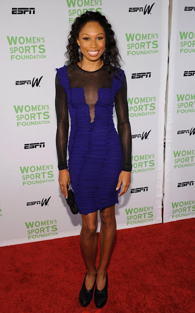 NEW YORK - OCTOBER 12: Olympic Trck and Field medalist Allyson Felix attends the 31st Annual Salute to Women in Sports gala at The Waldorf-Astoria on October 12, 2010 in New York City. (Photo by Bryan Bedder/Getty Images)