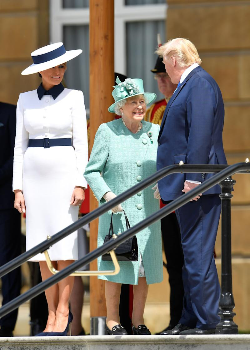 Melania and Donald Trump greet the Queen outside Buckingham Palace. [Photo: Getty]