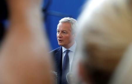 FILE PHOTO: French Finance Minister Bruno Le Maire holds a news conference in Paris
