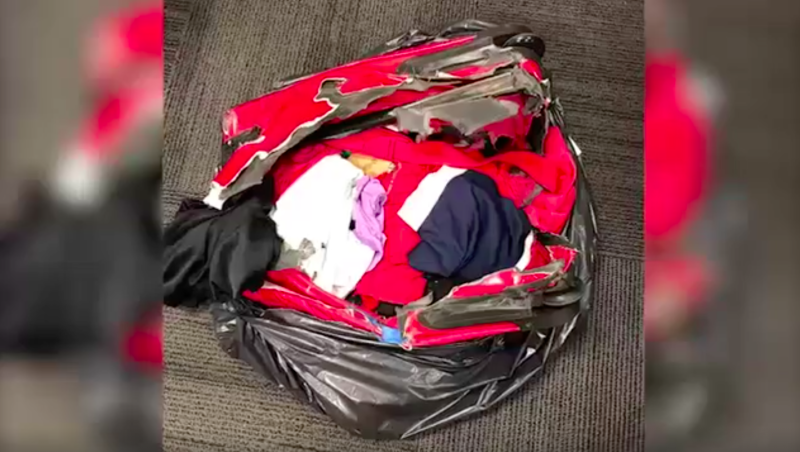 Woman finds suitcase shredded and burned in garbage bag at Chicago airport