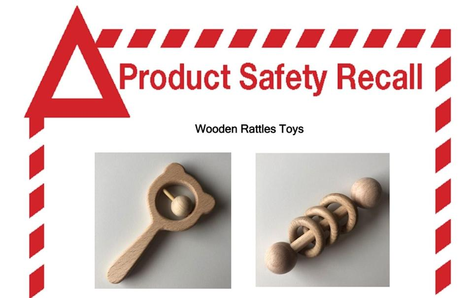 The Little Ones wooden rattles toys which have been recalled.