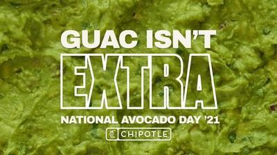 To redeem free guac on the most extra day of the year, guests in the U.S. and Canada can simply use code AVO2021 at digital checkout with an entrée purchase via the Chipotle app or Chipotle websites on July 31.