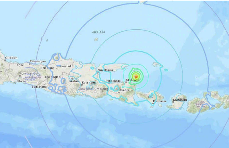The 6.0 magnitude struck just off the popular holiday destination of Bali. Image USGSMore