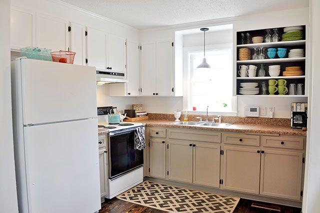 """<p>Voila! $108 later, it's practically unrecognizable.</p><p><strong>Get the tutorial at <a href=""""http://www.beautifulmatters.com/2013/02/diy-inexpensive-cabinet-updates/"""" rel=""""nofollow noopener"""" target=""""_blank"""" data-ylk=""""slk:BeautifulMatters.com"""" class=""""link rapid-noclick-resp"""">BeautifulMatters.com</a>.</strong></p><p><strong><a class=""""link rapid-noclick-resp"""" href=""""https://www.amazon.com/s?i=aps&k=cabinet+trim&ref=nb_sb_noss_2&url=search-alias%3Daps&tag=syn-yahoo-20&ascsubtag=%5Bartid%7C2139.g.34085615%5Bsrc%7Cyahoo-us"""" rel=""""nofollow noopener"""" target=""""_blank"""" data-ylk=""""slk:SHOP CABINET TRIM"""">SHOP CABINET TRIM</a><br></strong></p>"""