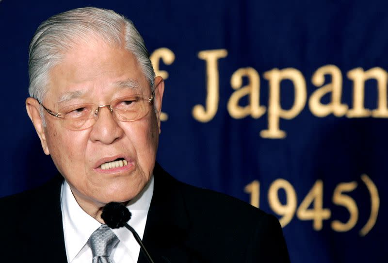FILE PHOTO: Former Taiwan president Lee speaks during news conference in Tokyo