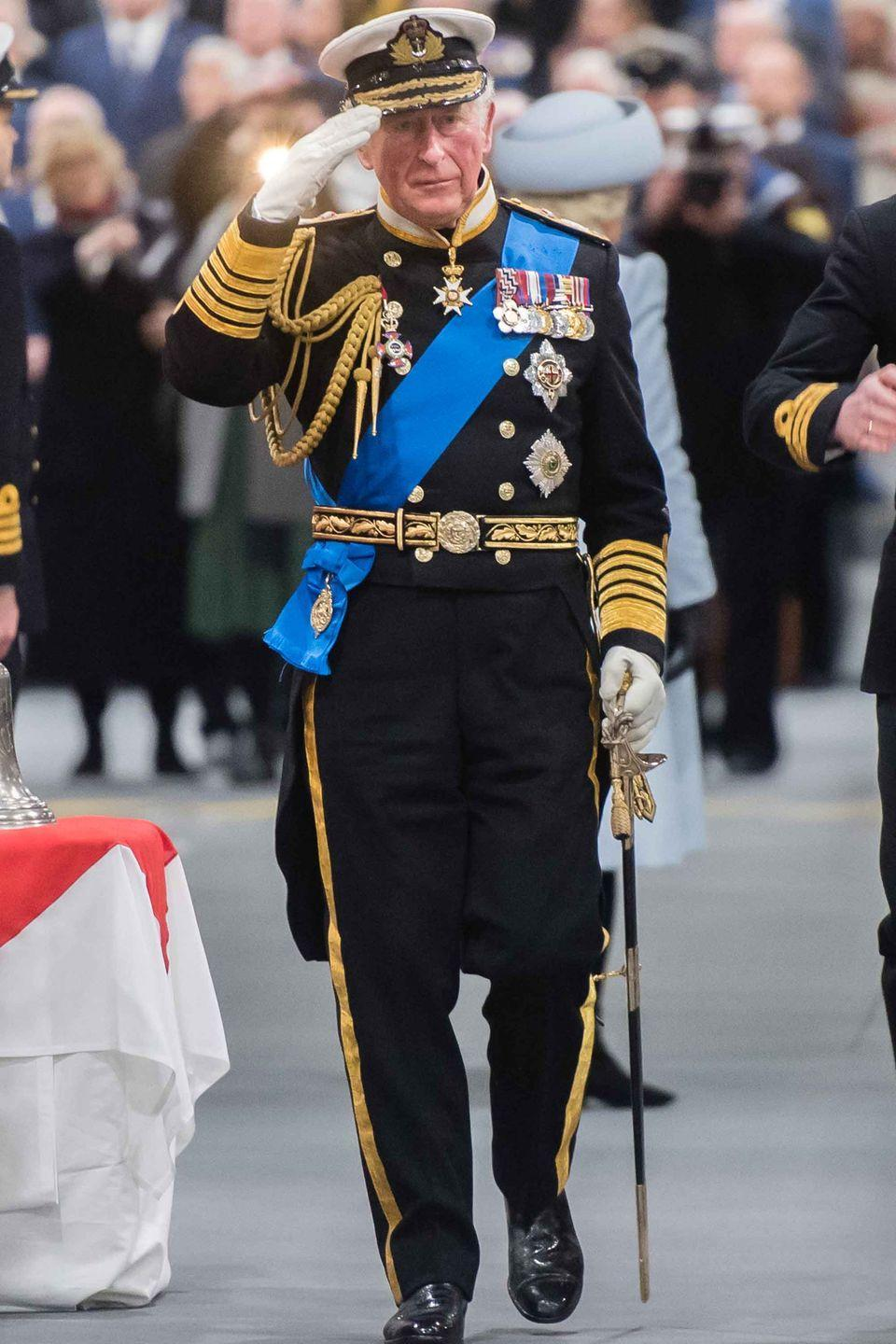 <p>Prince Charles attends the official Commissioning Ceremony of the aircraft carrier HMS Prince of Wales at Her Majesty's Naval Base in Portsmouth, England.</p>
