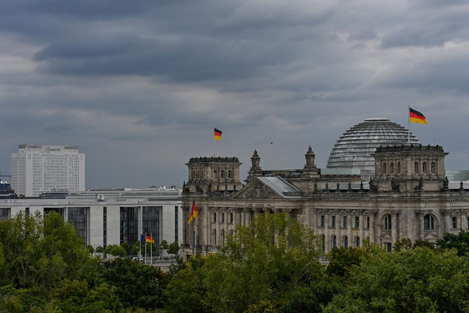 The Reichstag building which houses the Bundestag (lower house of parliament) is picturd with the Charite hospital in the background in Berlin, on September 9, 2020. (Photo by Tobias SCHWARZ / AFP) (Photo by TOBIAS SCHWARZ/AFP via Getty Images)