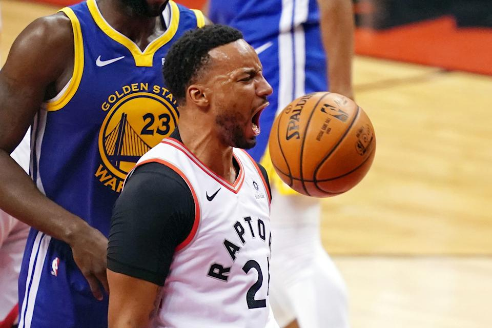 Jun 2, 2019; Toronto, Ontario, CAN; Toronto Raptors forward Norman Powell (24) reacts after a play against the Golden State Warriors during the second quarter in game two of the 2019 NBA Finals at Scotiabank Arena. Mandatory Credit: Kyle Terada-USA TODAY Sports