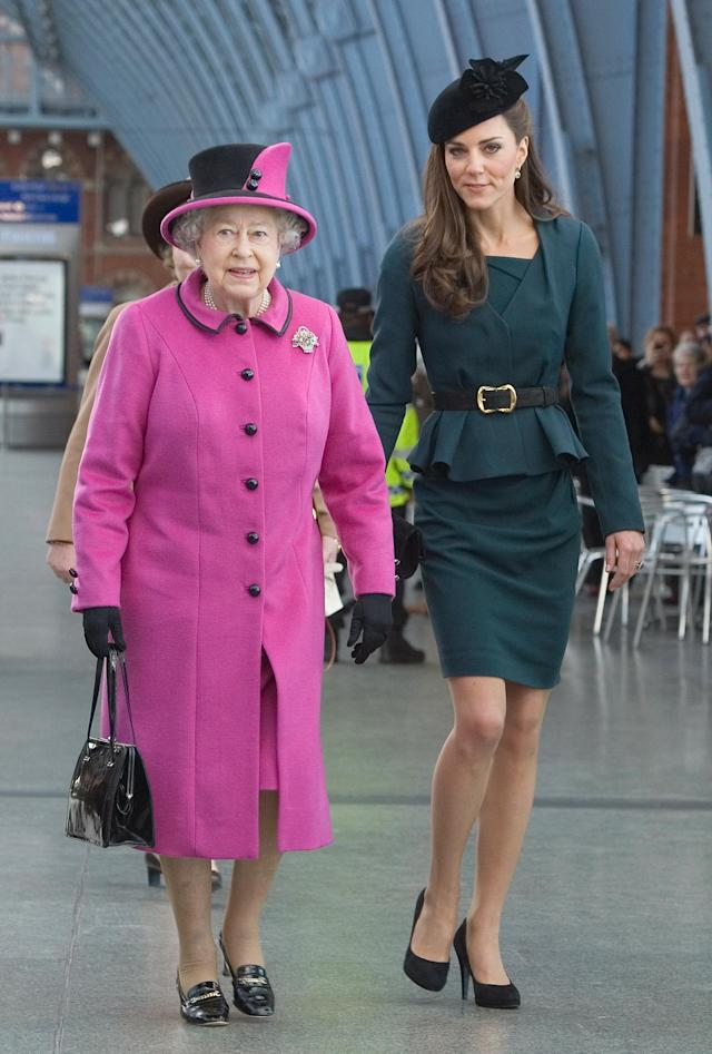 Kate Middleton joined the Queen for their first public outing together in March 2012 during the Diamond Jubilee tour. (Photo: Getty Images)