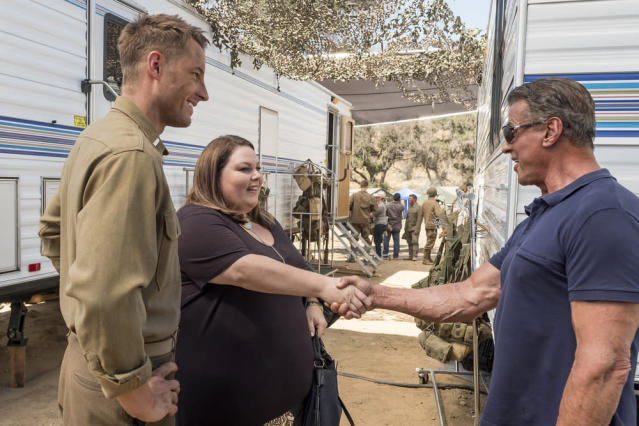 <p>Justin Hartley as Kevin, Chrissy Metz as Kate and Sylvester Stallone as Himself in NBC's <i>This Is Us</i>.<br>(Photo: Ron Batzdorff/NBC) </p>