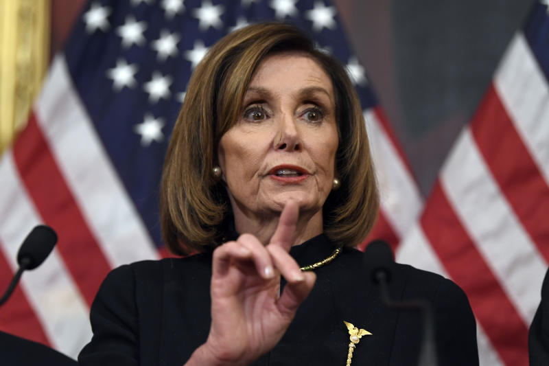 House Speaker Nancy Pelosi, D-Calif., speaks on Capitol Hill in Washington, Wednesday, Dec. 18, 2019, after the U.S. House voted to impeach President Donald Trump on two charges, abuse of power and obstructing Congress. (AP Photo/Susan Walsh)