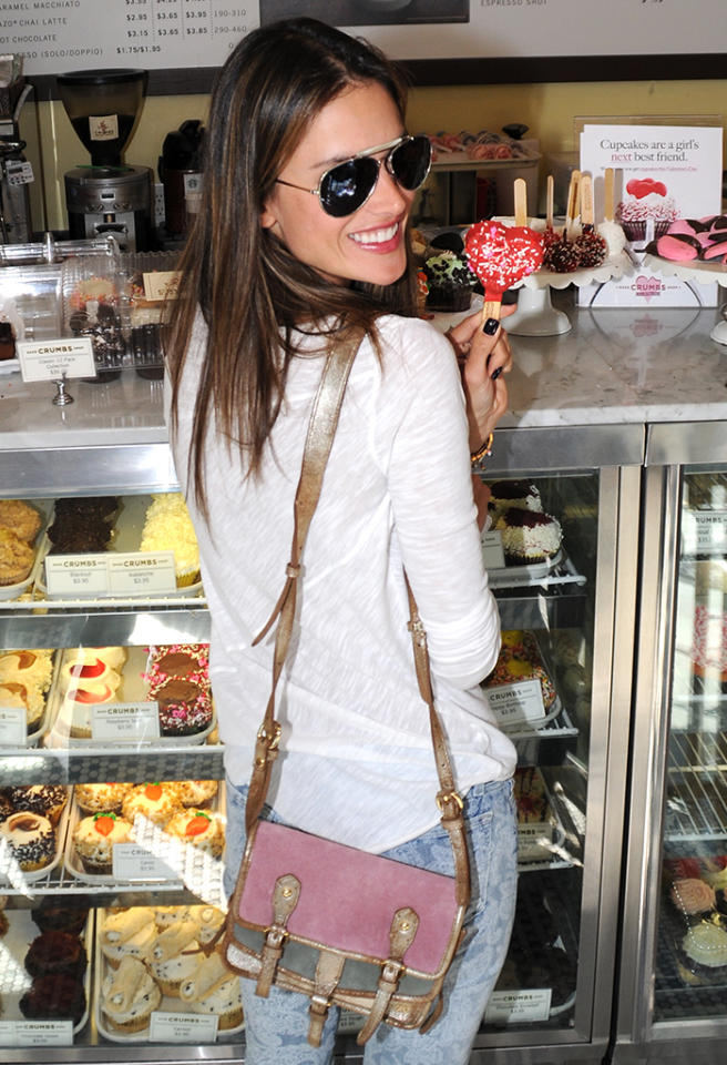 Victoria's Secret model Alessandra Ambrosio makes a stop at Crumbs for some Valentine's Day cupcakes in Beverly Hills. Pictured: Alessandra Ambrosio Ref: SPL496676  140213  Picture by: VLNY / Zodiac / Splash News   Splash News and Pictures Los Angeles:310-821-2666 New York:212-619-2666 London:870-934-2666 photodesk@splashnews.com