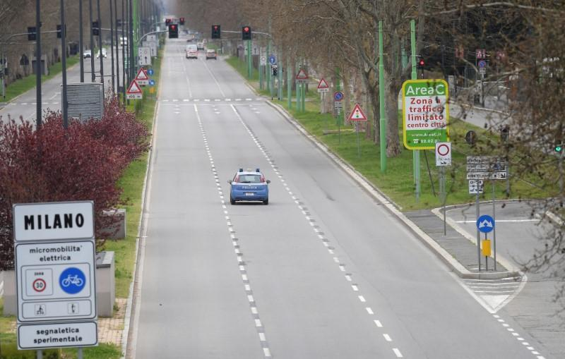 FILE PHOTO: A general view of almost empty streets in Milan, as the spread of the coronavirus disease (COVID-19) continues