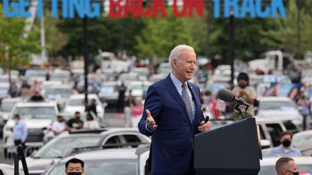PHOTO: President Joe Biden attends the Democratic National Committee's 'Back on Track' drive-in car rally to celebrate the president's 100th day in office at the Infinite Energy Center in Duluth, Ga., April 29, 2021. (Evelyn Hockstein/Reuters)