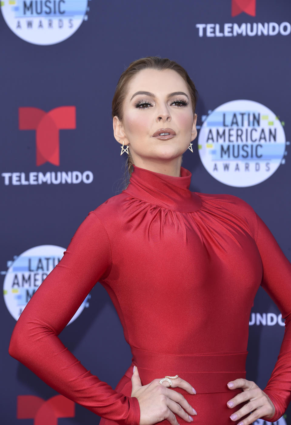 Marjorie de Sousa arrives at the Latin American Music Awards at the Dolby Theatre on Thursday, Oct. 25, 2018, in Los Angeles. (Photo by Richard Shotwell/Invision/AP)