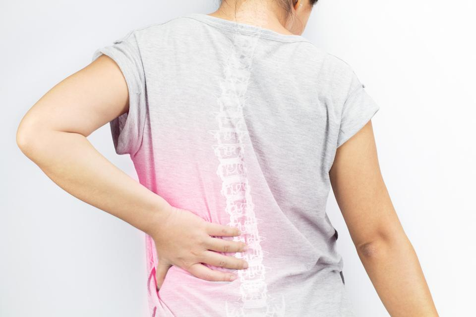 spine bones injury white background