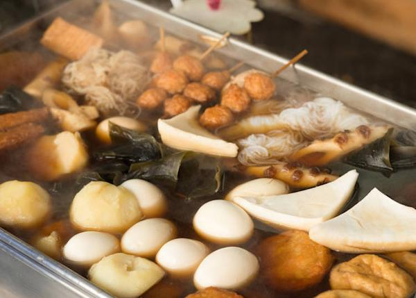 Oden is a stew made with eggs, fish cakes, daikon and dashi soup.