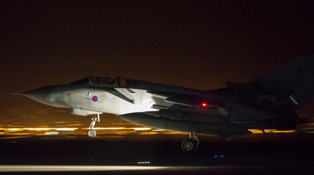 <p>In this image released by Britain's Ministry of Defense, an RAF Tornado comes into land at Britain Royal Air Force base in Akrotiri, Cyprus, after its mission to conduct strikes in support of operations over the Middle East Saturday, April 14, 2018. (Photo: Cpl L Matthews/MoD via AP) </p>