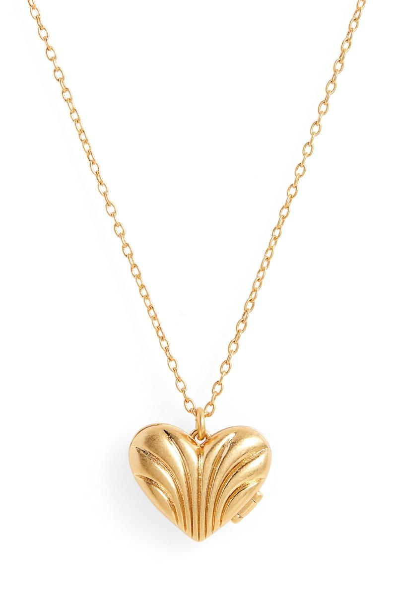 Madewell Carved Heart Locket Pendant Necklace. Image via Nordstrom.