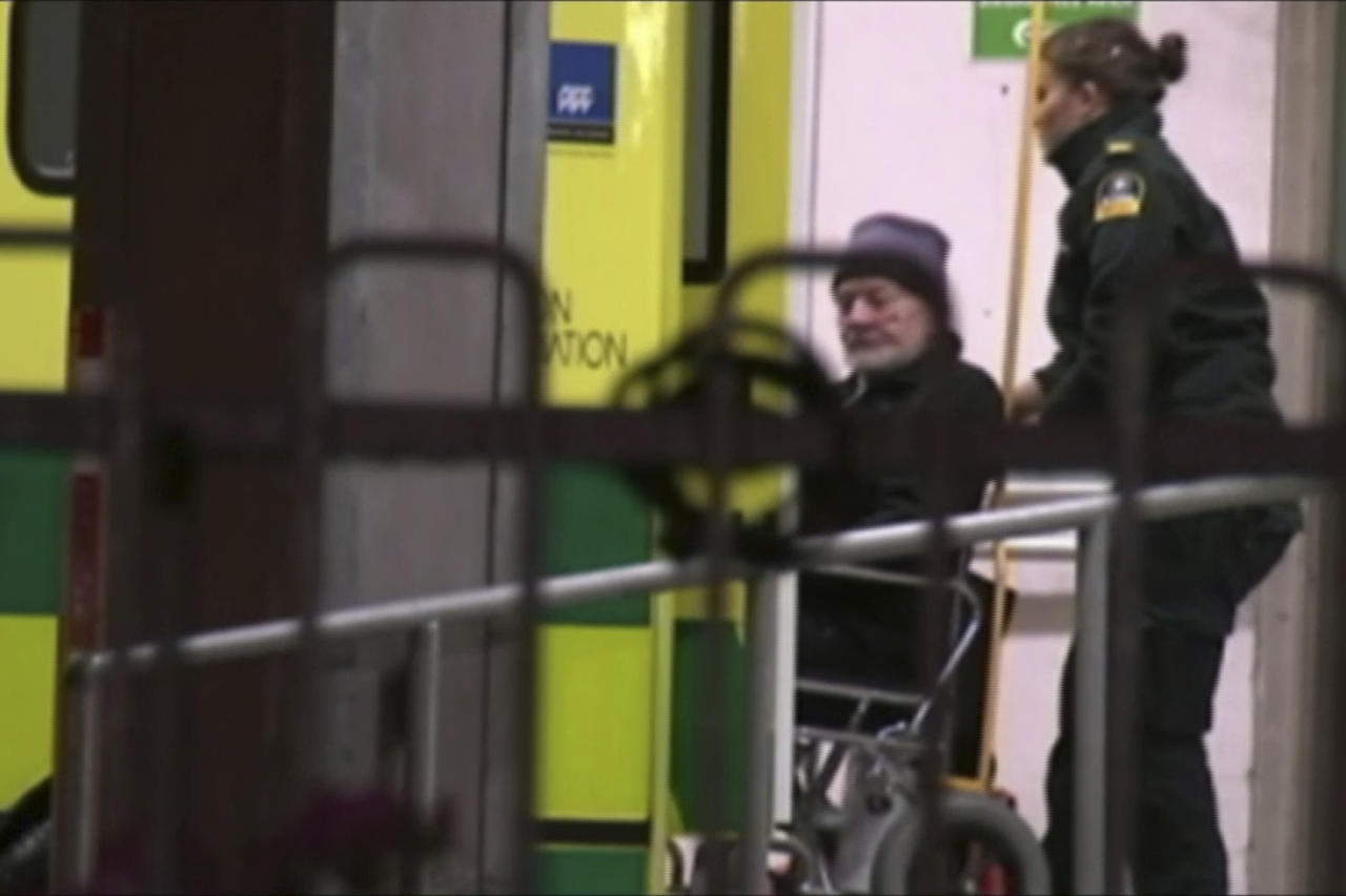 In this image made from a video, Buzz Aldrin is wheeled from ambulance into hospital in Christchurch, New Zealand Friday, Dec. 2, 2016. Aldrin, the second man to walk on the moon, was evacuated from the South Pole to New Zealand where he was in a hospital on Friday in stable condition. Aldrin was visiting Antarctica as a tourist when he fell ill. (TVNZ via AP)
