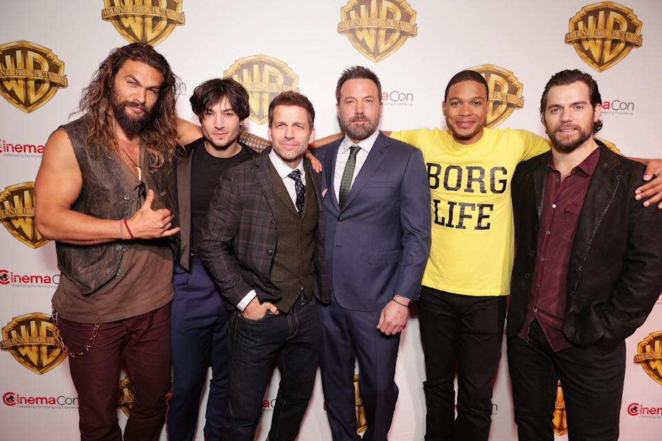 "Jason Momoa, Ezra Miller, Director Zack Snyder, Ben Affleck, Ray Fisher and Henry Cavill seen at Warner Bros. Pictures ""The Big Picture"" at 2017 CinemaCon on Wednesday, March 29, 2017, in Las Vegas. (Photo by Eric Charbonneau/Invision for Warner Bros./AP Images)"