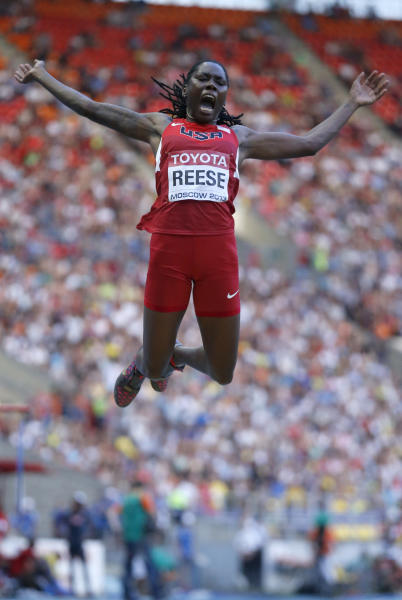 United States' Brittney Reese competes in the women's long jump final at the World Athletics Championships in the Luzhniki stadium in Moscow, Russia, Sunday, Aug. 11, 2013. (AP Photo/Matt Dunham)