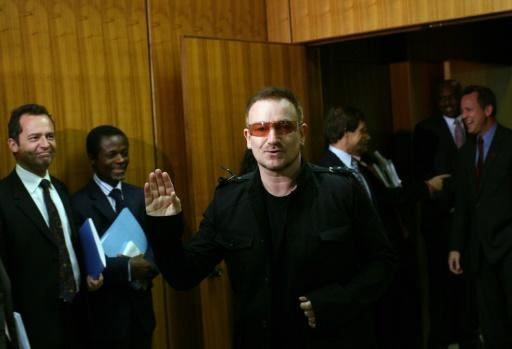 U2 frontman Bono visits the United Nations in 2008
