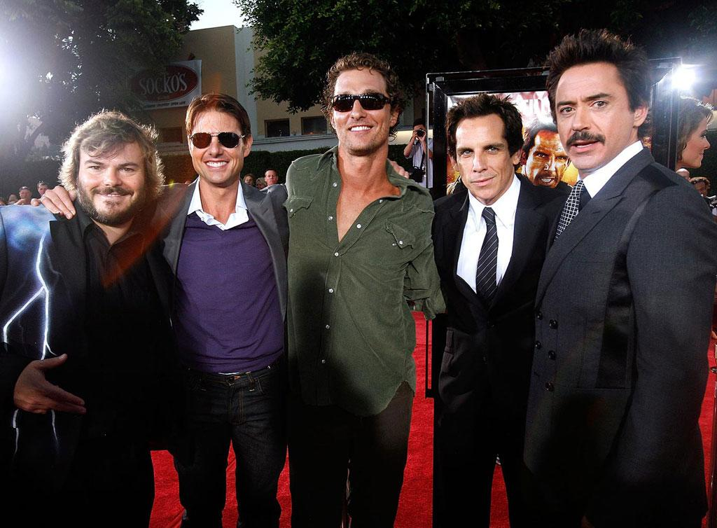 """<a href=""""http://movies.yahoo.com/movie/contributor/1800019193"""">Ben Stiller</a> , <a href=""""http://movies.yahoo.com/movie/contributor/1800015725"""">Tom Cruise</a> , <a href=""""http://movies.yahoo.com/movie/contributor/1800018907"""">Matthew McConaughey</a> , <a href=""""http://movies.yahoo.com/movie/contributor/1800019193"""">Ben Stiller</a> and <a href=""""http://movies.yahoo.com/movie/contributor/1800010914"""">Robert Downey Jr</a> at the Los Angeles Premiere of <a href=""""http://movies.yahoo.com/movie/1809912814/info"""">Tropic Thunder</a> - 08/11/2008"""