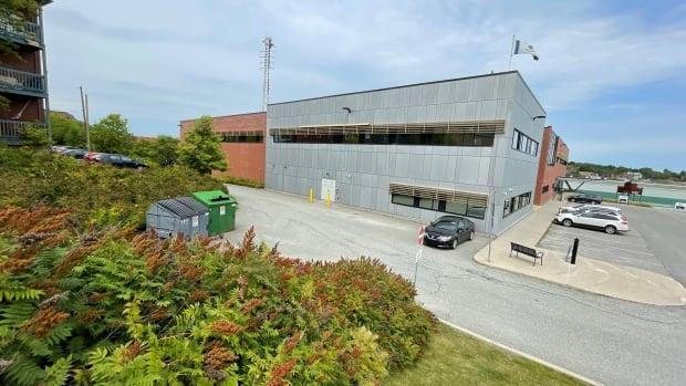 The human remains were mistakenly placed in a dumpster at the Sherbrooke police station, according to Radio-Canada.  (Radio-Canada - image credit)