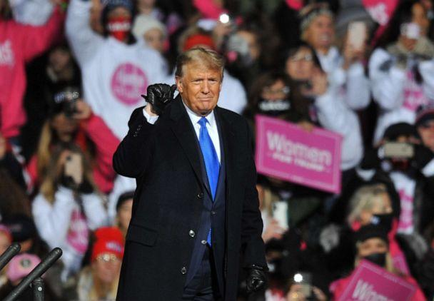 PHOTO: President Donald Trump speaks during a campaign rally, Oct. 27, 2020, in Omaha, Neb. (Steve Pope/Getty Images)