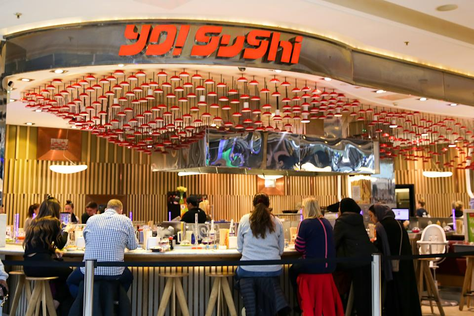 LONDON, UNITED KINGDOM - 2020/03/15: Exterior view of Yo! Sushi in London, UK. (Photo by Dinendra Haria/SOPA Images/LightRocket via Getty Images)