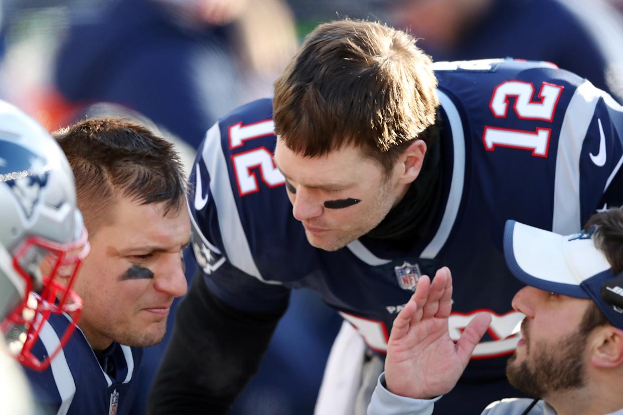 Tom Brady indicated he won't lobby Rob Gronkowski to return to football. (Photo by Adam Glanzman/Getty Images)