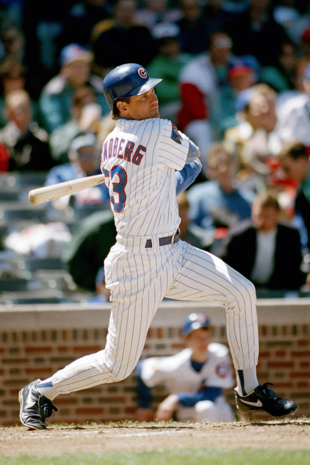 FILE - In this May 18, 1994, file photo, Chicago Cubs' Ryne Sandberg hits a bases-loaded triple during the third inning against the San Diego Padres in Chicago. Sandberg was drafted by the Philadelphia Phillies in the 20th round of the 1978 Baseball Draft but played only 13 games for the Phillies before spending the rest of his Hall of Fame career with the Chicago Cubs. (AP Photo/John Swart, File)