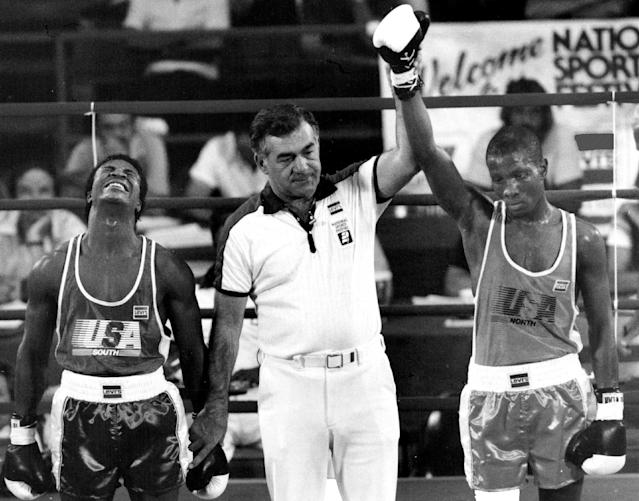 Pernell Whitaker photographed with Rob Byrd. (Photo By Damian Strohmeyer/The Denver Post via Getty Images)