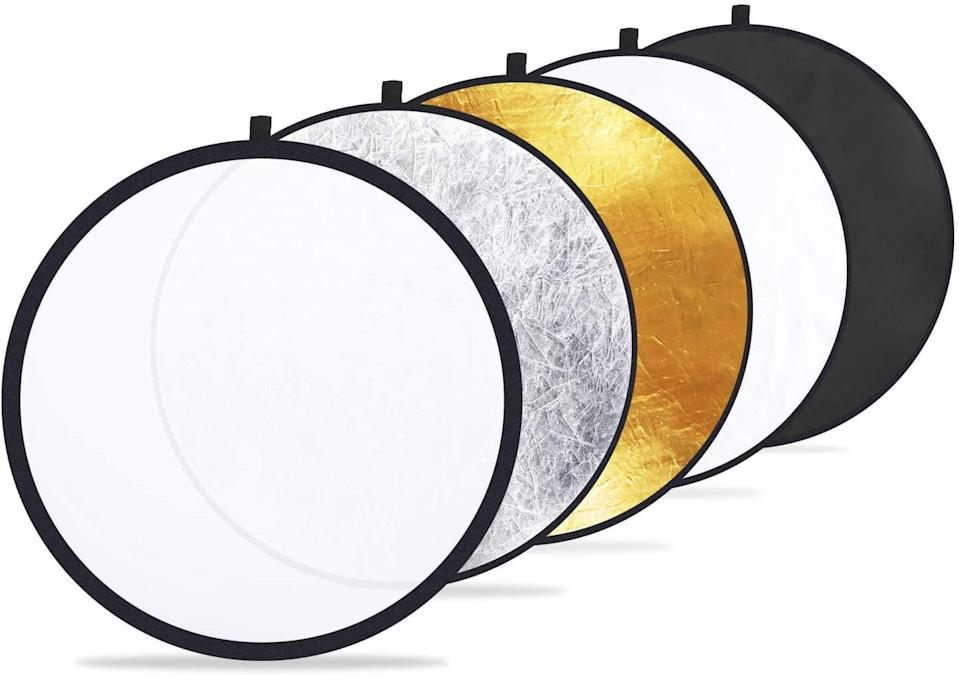 "<p>Lighting makes or breaks a picture, and the <span>Etekcity 24"" (60cm) 5-in-1 Photography Reflector Light Reflectors</span> ($15) are a behind-the-scenes must have. No more chasing the sun with these handy lighting filters. The kit comes with translucent, silver, gold, white, and black discs. </p>"
