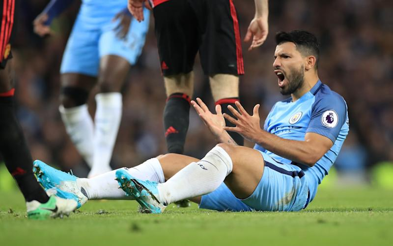 Sergio Aguero looks frustrated