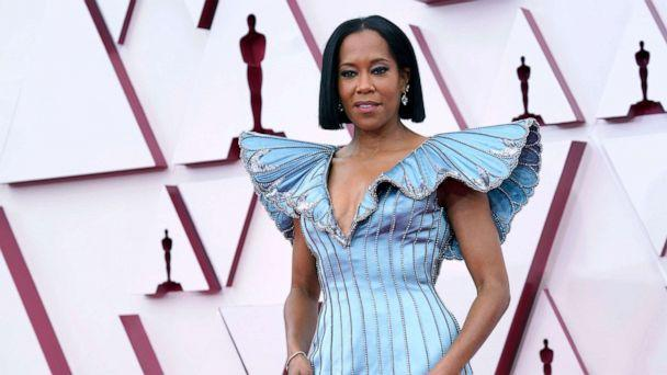 PHOTO: Regina King arrives at the Oscars, April 25, 2021, at Union Station in Los Angeles. (Chris Pizzell/Pool via AP)