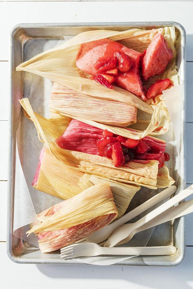 """<p>Summertime calls for sweet corn and fresh strawberries! And yes, you can use both in the same dish with this delicious take on tamales. </p><p><strong><a rel=""""nofollow"""" href=""""https://www.womansday.com/food-recipes/food-drinks/a21054089/strawberry-tamales-recipe/"""">Get the recipe.</a></strong></p>"""