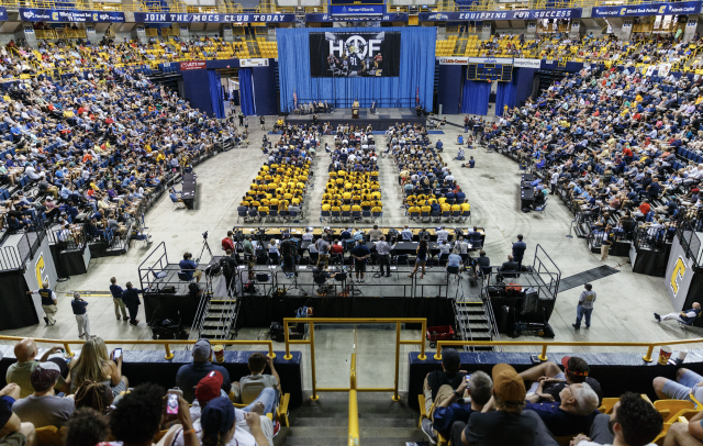 A crowd of around 3,000 gathered inside McKenzie Arena in Chattanooga, Tennessee, to watch Terrell Owens give his Hall of Fame induction speech. (AP)