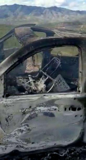 PHOTO: The burnt wreckage of a vehicle transporting a Mormon family living near the border with the U.S. is seen, after the family was caught in a crossfire between unknown gunmen from rival cartels, in Bavispe, Sonora, Mexico, Nov. 4, 2019. (Kenneth Miller/Lafe Langford J/via Reuters)